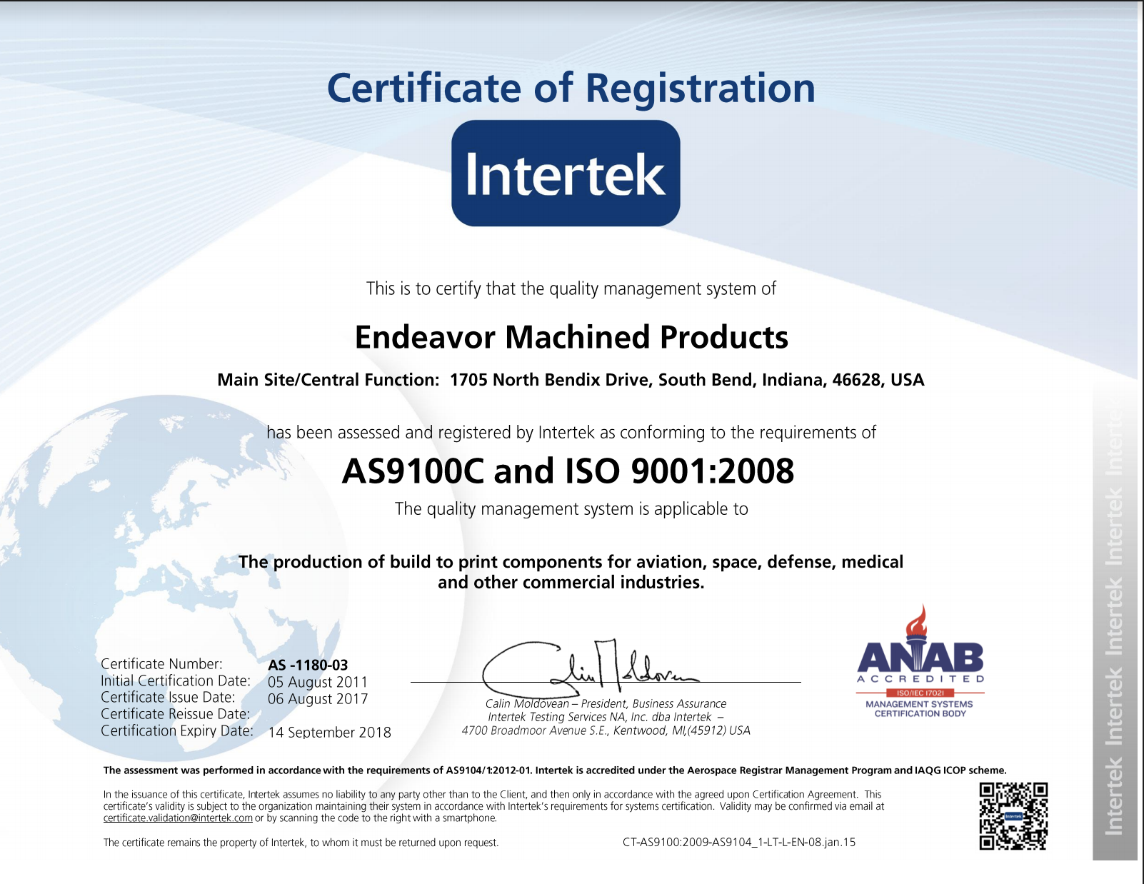 Certifications Endeavor Machined Products